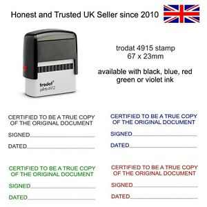 Certified to be a true Copy legal Self Inking Rubber Stamp Trodat 67 x 23mm