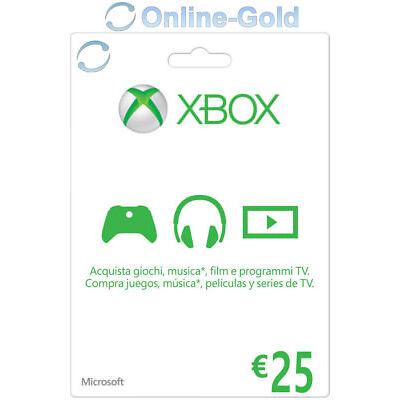 25 EUR Buono regalo digitale Xbox - €25 Euro prepagato Codice Xbox One 360 - IT