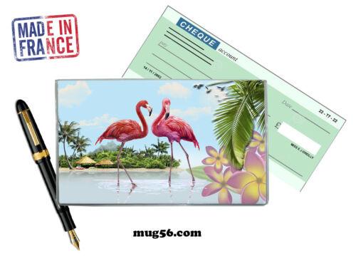 flamant rose flamingo 101 protège porte chéquier personnalisable