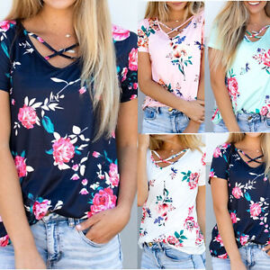 Plus-Size-Womens-Short-Sleeve-Floral-Shirts-Blouse-Tops-Loose-T-Shirt-Casual-Tee