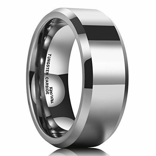 King Will BASIC Men's 8mm Tungsten Carbide Ring Polished Plain Comfort Fit NEW