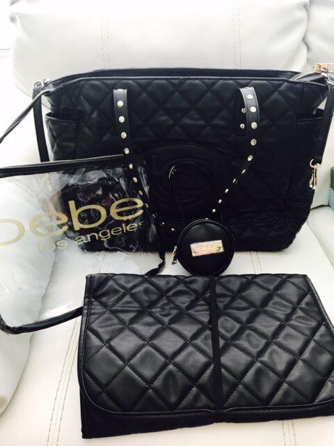 e511d47af6 NWT bebe Olivia Diaper Tote Weekender Travel Bag Black Faux Leather 4 Piece  Set