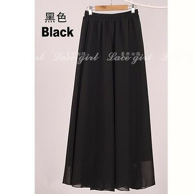 New Women Double Layer Chiffon Pleated Retro Elastic Waist Maxi Long Dress Skirt