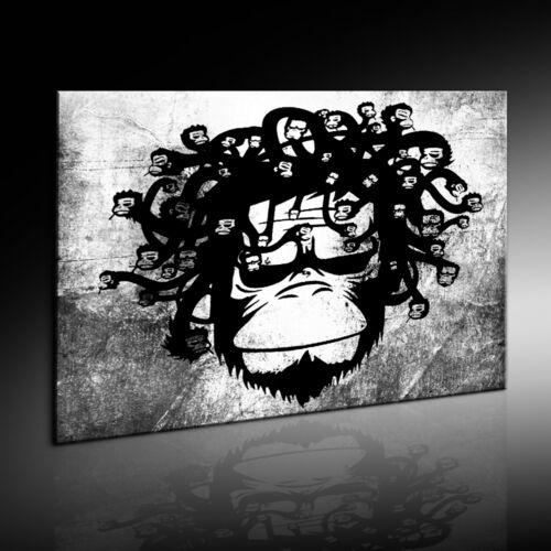 Wandbild monkey Banksy Graffiti Street Art  Kunstdruck Leinwandbild Bild #666