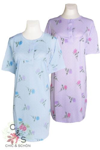 Damen in Luxus Qualität mit Rosenmuster 2x Elegantes Frühlings Nachthemd f