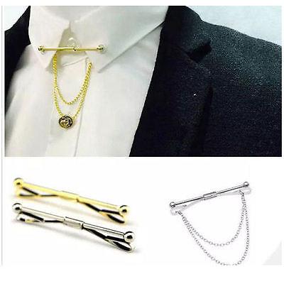 Para Hombres Camisa De Cuello Bar Corbata Corbata Pin 6 cm Broche De Oro Plata Chicos Clip Regalo UK