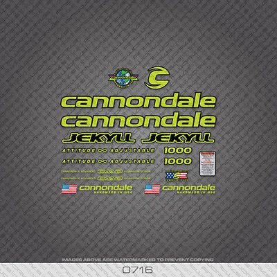 Cannondale Jekyll 1000 bicyclette decals-transfers-autocollants-vert set 0716