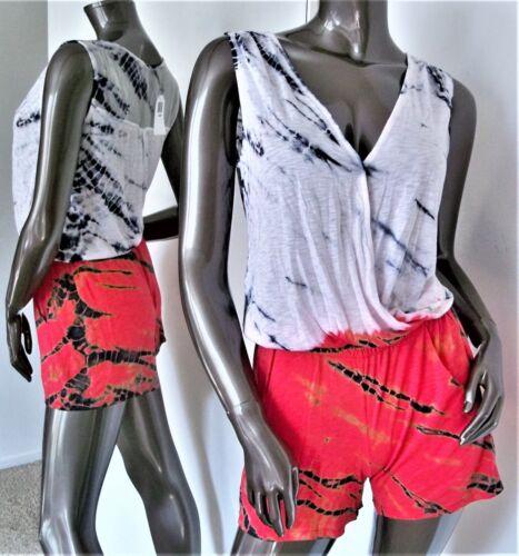 Pettorosso cotone Sz dye Supima Bianco Nero Nwt in Tie Rosso rosso Seta Cotone Pagliaccetto s rCO8w1rqx
