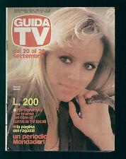 GUIDA TV MONDADORI 38/1981 GLORIA GUIDA TRAME FILM TV LOCALI ZONA CENTRO ITALIA