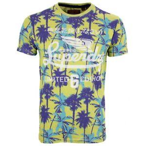 reputable site e6a72 e910a Details zu Superdry Herren T-Shirt Nu Aop Lite gelb blau Palmen Muster  M10108YT D3D