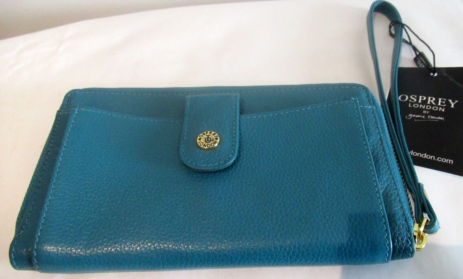 OSPREY phone wallet purse zip teal large card LEATHER CHRISTMAS GIFT