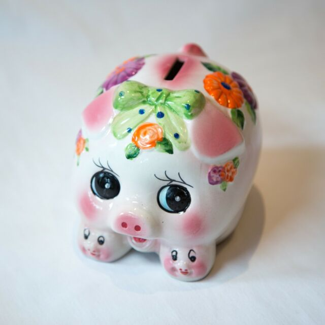 Vintage Retro Kitsch Ceramic Piggy Bank/ Money Box Anthropomorphic figurine