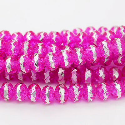 48pcs 8mm Faceted Rondelle Cut Glass Crystal Loose Spacer Beads B383