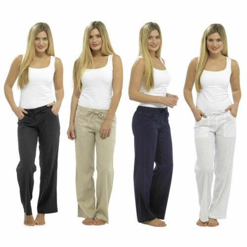 Ladies Linen Trousers Casual Bottoms Summer Pants 10 12 14 16 18 20 White Black