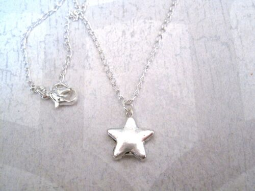"CUTE CHUNKY SMALL STAR Ditsy Charm Necklace Silver Plated 18/"" chain GIFT POUCH"