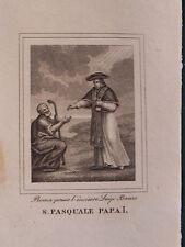 San Pasquale Papa I acquaforte originale Banzo 1840