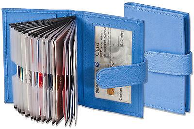 Hingebungsvoll Rimbaldi® Kreditkartenetui In Blau Mit Verstärkten Fächern Aus Feinem Leder