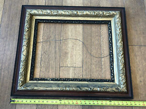 Antique Englisn Victorian Gold & Black Gesso Gallery Wood Picture Frame Old Art