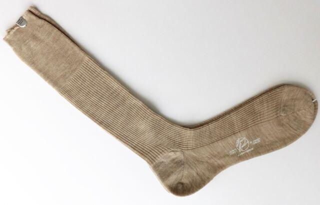 """Harvie & Hudson mens beige socks Merino Wool vintage 1980s Sock size 11 1/2"""" NWT"""