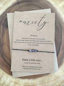 Anxiety Stress Amethyst Crystal Gemstone Healing Calming Wish Bracelet Gift