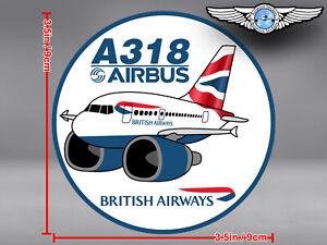 ROUND BRITISH AIRWAYS BA PUDGY AIRBUS A318 A 318 DECAL STICKER 3.5x3.5in//9x9cm