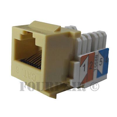 5 Pack Lot Ivory CAT5e RJ45 110 Punch Down Keystone Modular Snap-In Jacks