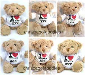 i love my mum dad granny nana 7 inch teddy bear gifts presents gift