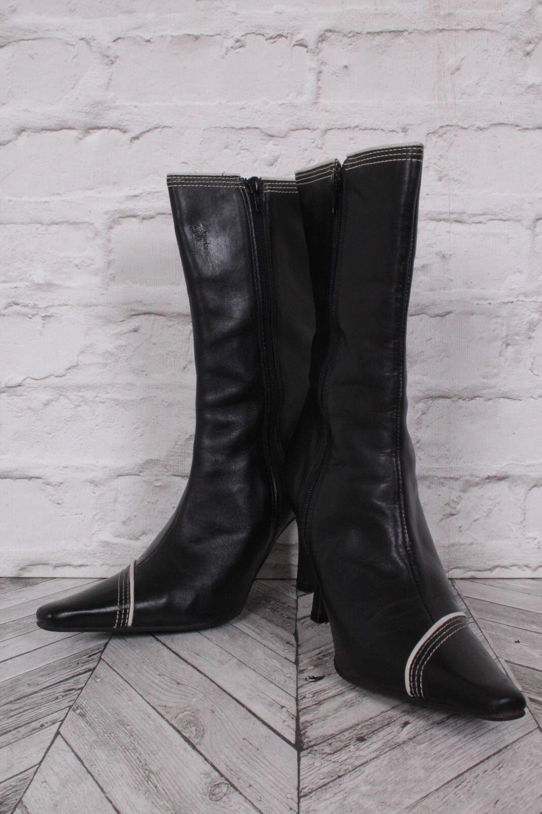 KALIKO   Black & Cream Leather Stiletto High Heel Mid Calf Boots  UK 7 41