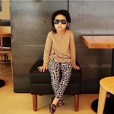 XS-XL Girls Kids Stretch Full Length Leopard Animal Print Legging Pants Trousers