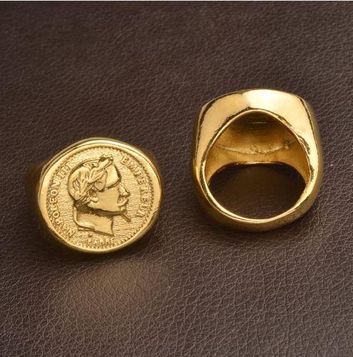 Chevalière Napoleon III plaqué or 20 Francs Or bague