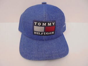 a50ea277e40 Image is loading Vintage-Tommy-Hilfiger-Logo-Flag-Denim-Blue-Strapback-