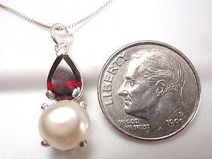Red Garnet 925 Sterling Silver Necklace Corona Sun Jewelry