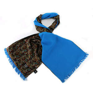 TOOTAL-vintage-100-soie-foulard-paisley-rouge-avec-soie-bleu-lumineux-brosse-dos