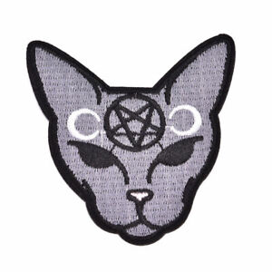 Goth-Punk-Cat-Embroidery-Sew-On-Iron-On-Patch-Applique-Badge-Fabric-Craft-1pcs