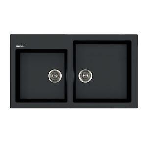 Lavello per cucina Apell Pietra Plus effetto granito nero 86x50 cm ...
