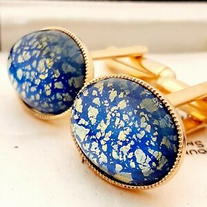 Vintage-Amazing-Vibrant-Blue-Glass-Fire-Opal-Oval-Gold-Plated-Cufflinks