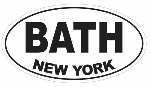 Bath New York Oval Bumper Sticker or Helmet Sticker D3088 Euro Oval