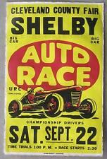 1950's Championship Auto Race North Carolina Vintage Advertising Poster 11 x 17