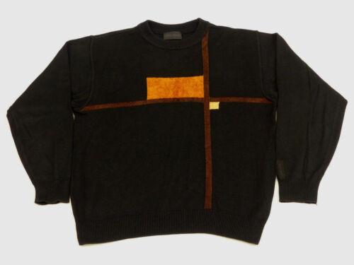 Negro Retro Carlo Top Tip M Casual Sutil Colucci Naranja Vintage Pullover Sz gBYBTnq