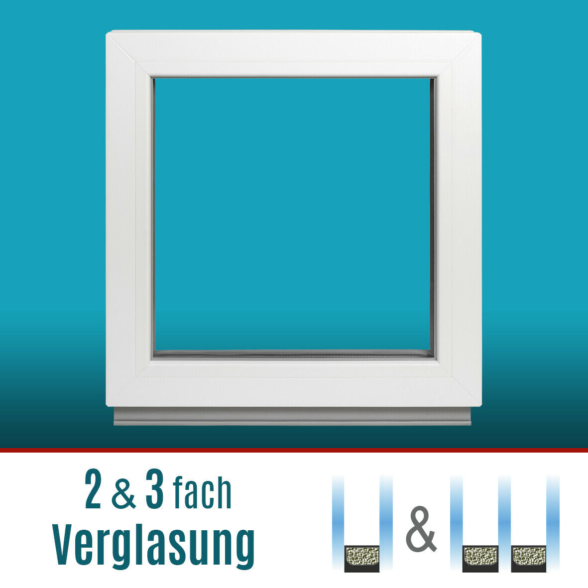 Kellerfenster Fenster 2-fach&3-fach Verglasung Festverglasung(FIB) Weiß Premium