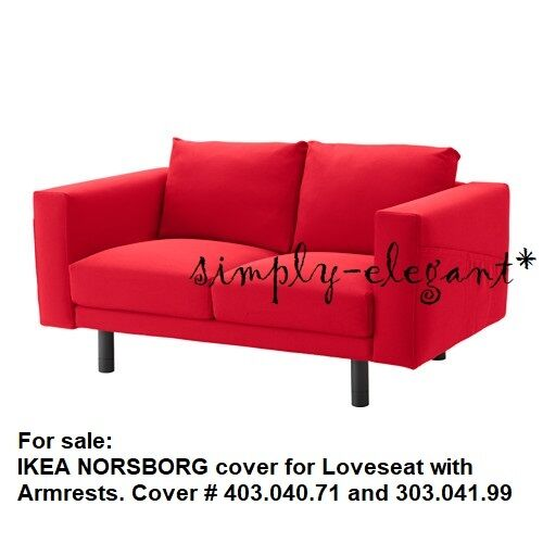 IKEA NORSBORG COVER for 2 seat sofa w// Armrests Covers Slipcover Finnsta Red NEW