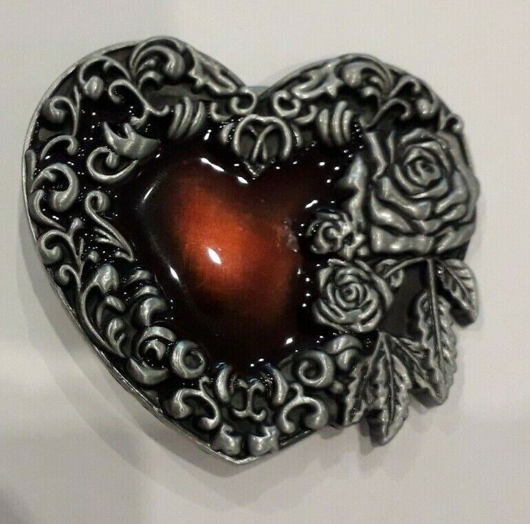 Small Floral Heart Belt Buckle Silver Roses Leaves with Red Centre