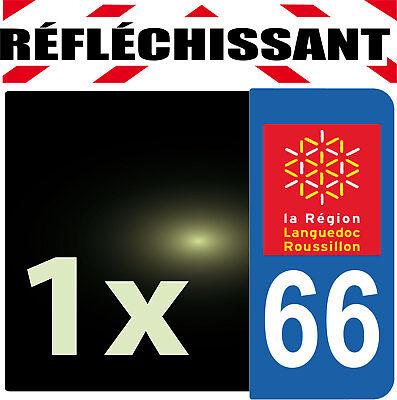 Agressief Departement 66 Rétro-réfléchissant Plaque Auto 1 Sticker Autocollant Reflectif