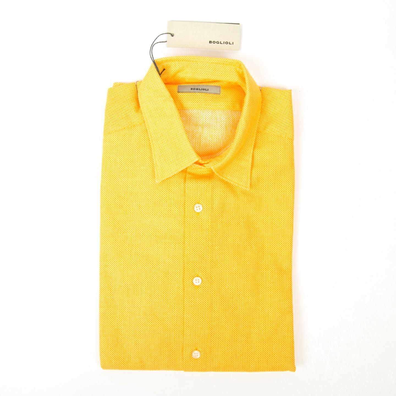 Boglioli NWT Solid Yellow Textured Weave Slim Fit Cotton Dress Sport Shirt 15 38