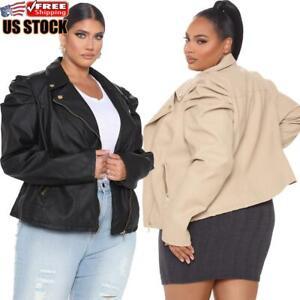 Plus-Size-Women-039-s-PU-Leather-Puff-Sleeve-Coat-Ladies-Jacket-Blazer-Bomber-Tops