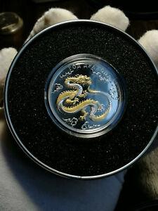 Togo-1000-Francs-Lunar-Calendar-Year-of-the-Dragon-silver-proof-gilded-2012