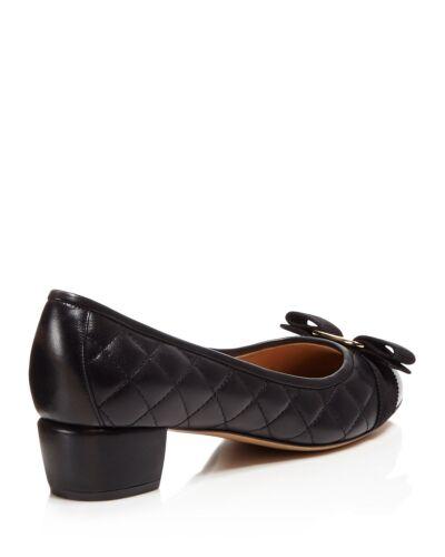 Neuf En Plates 7 Matelassé Cuir 5 Vara Nib Salvatore 6 Chaussures Noir Ferragamo AZBxBU