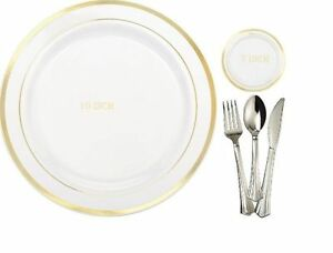 Image is loading Bulk-anniversary-wedding-dinner-Plastic-Plates -&-silverware-  sc 1 st  eBay & Bulk anniversary wedding dinner Plastic Plates u0026 silverware gold rim ...