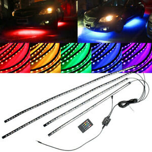 4pcs-RGB-LEDs-Strip-Under-Car-Tube-Underglow-Underbody-System-Neon-Light-Kit-12V