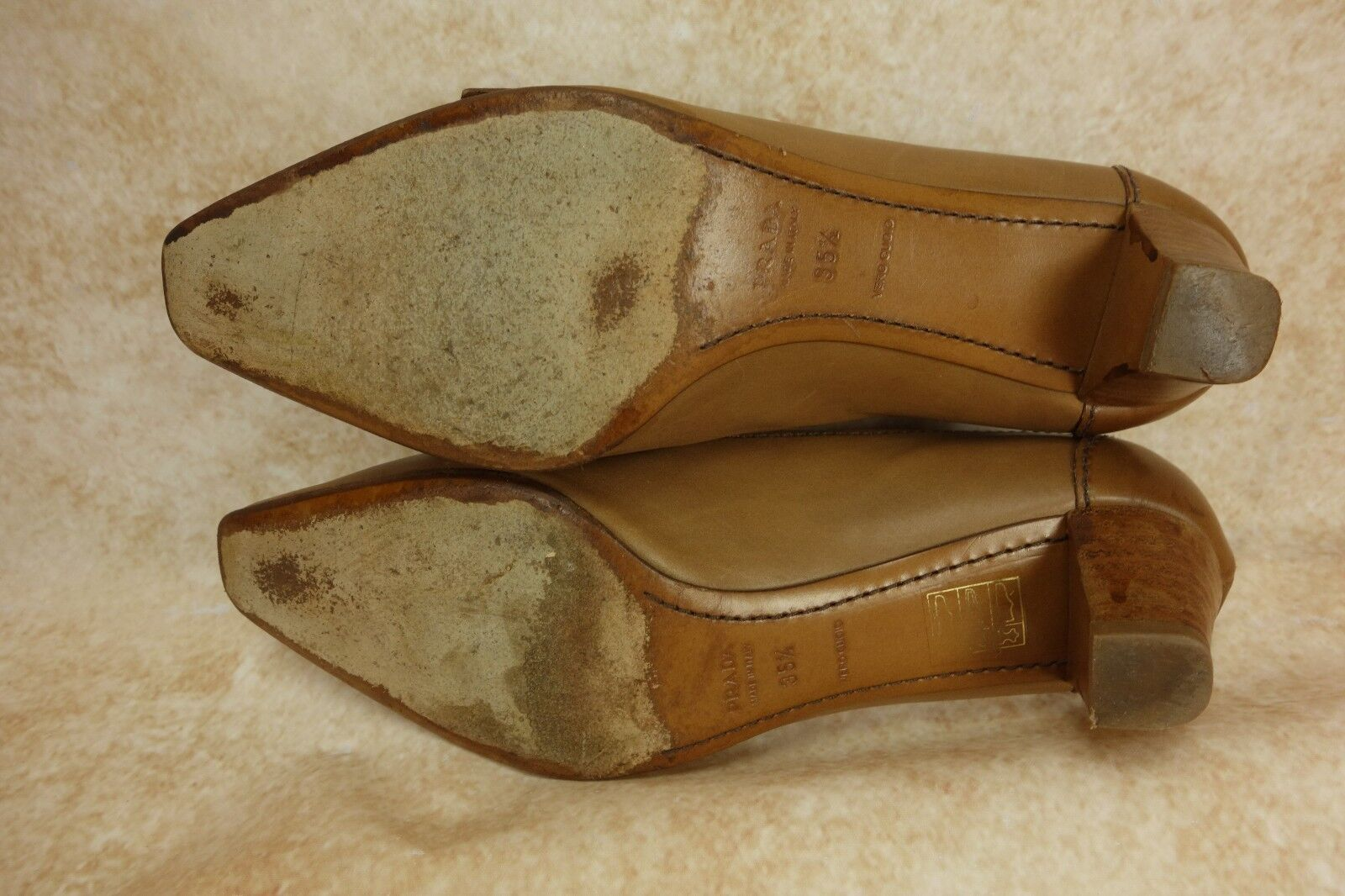PRADA marron Leather Buckle Strap Strap Strap Block Heel Designer Pumps Heels femmes Sze 35.5 e6ccd7